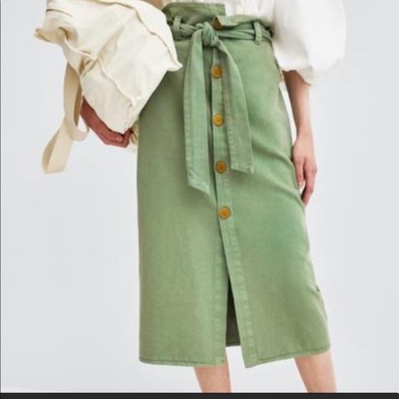 Zara Dresses & Skirts - Zara Trf Green Denim Skirt